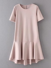 Peplum Hem Shift Dress - Pink S