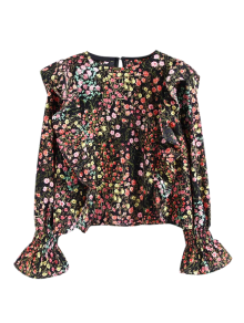 Tiny Floral Print Frilly Blouse - Floral M