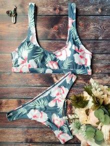 U Neck Floral Bikini Set - Green