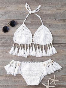 Beads Tassels Crochet Bikini Swimwear - White