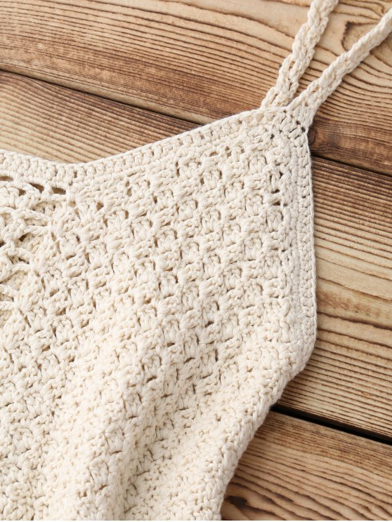 Fringed Crochet Cover Up Top - APRICOT ONE SIZE Mobile