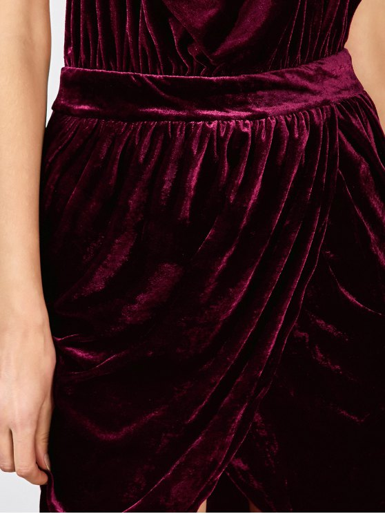 Sexy Backless Velvet Draped Tulip Dress - BURGUNDY XL Mobile