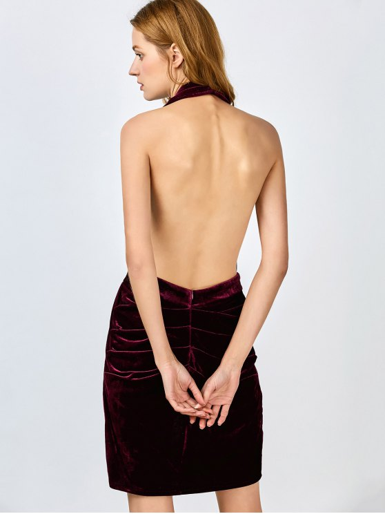Sexy Backless Velvet Draped Tulip Dress - BURGUNDY M Mobile