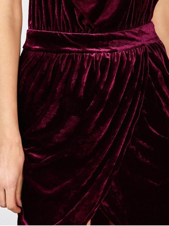 Sexy Backless Velvet Draped Tulip Dress - BURGUNDY S Mobile