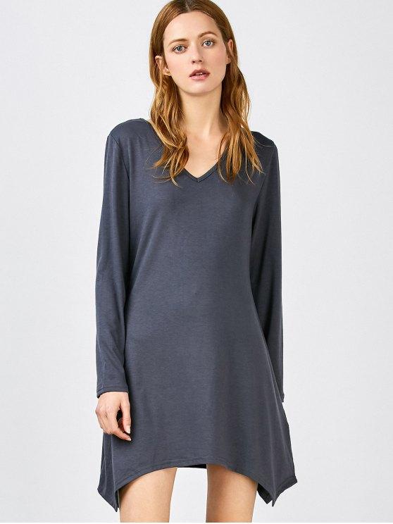 Vestir de manga larga del dobladillo del pañuelo - Blue_Stone XL