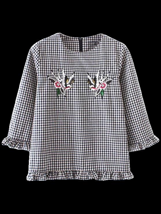 Comprobado Frilled de la blusa - Negro M