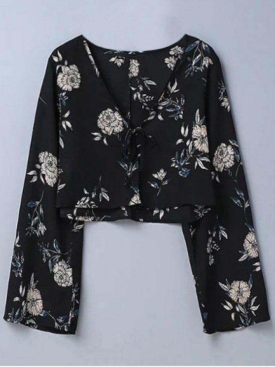 online Cropped Floral Blouse - BLACK L