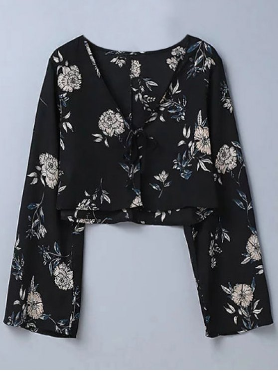 new Cropped Floral Blouse - BLACK M