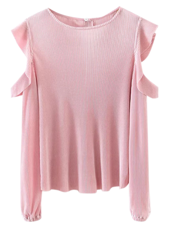 Frilled Cold Shoulder de la blusa - Rosa S