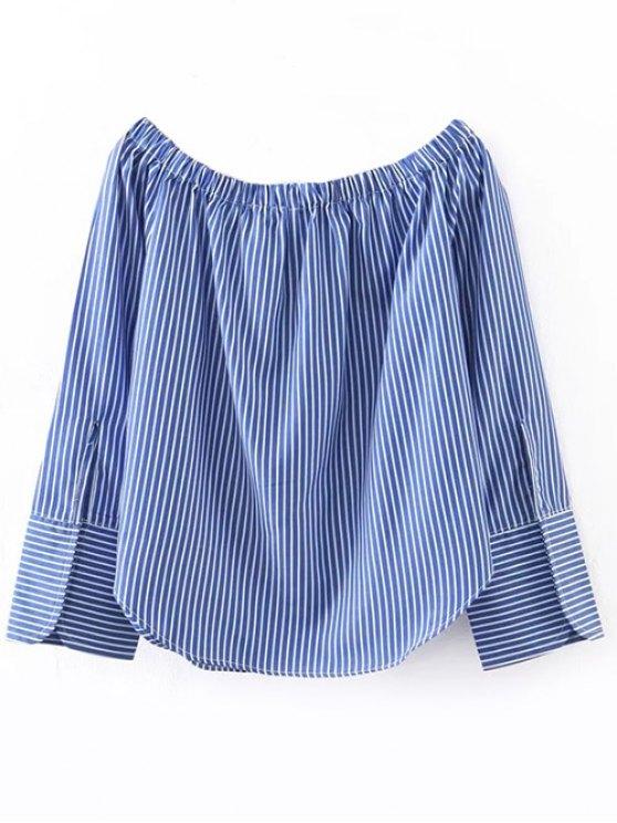 Embroidered Off Shoulder Striped Blouse - STRIPE S Mobile