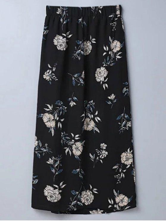 Hendidura floral una línea de Falda - Negro M