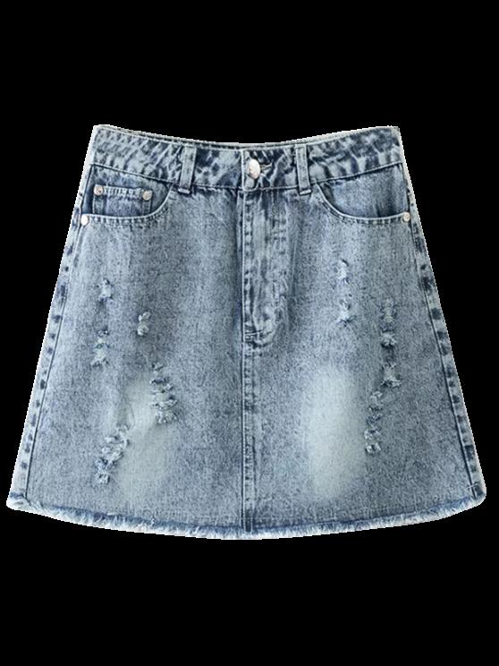 outfit Frayed Distressed Denim Mini Skirt - LIGHT BLUE M