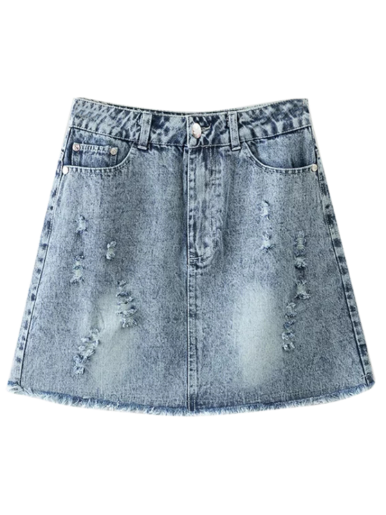 outfits Frayed Distressed Denim Mini Skirt - LIGHT BLUE S