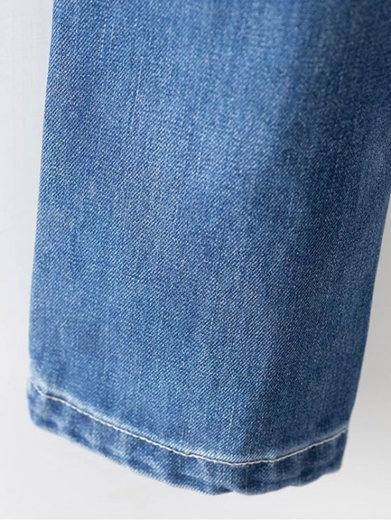 Cut Out Destroyed Tapered Jeans - BLUE XL Mobile