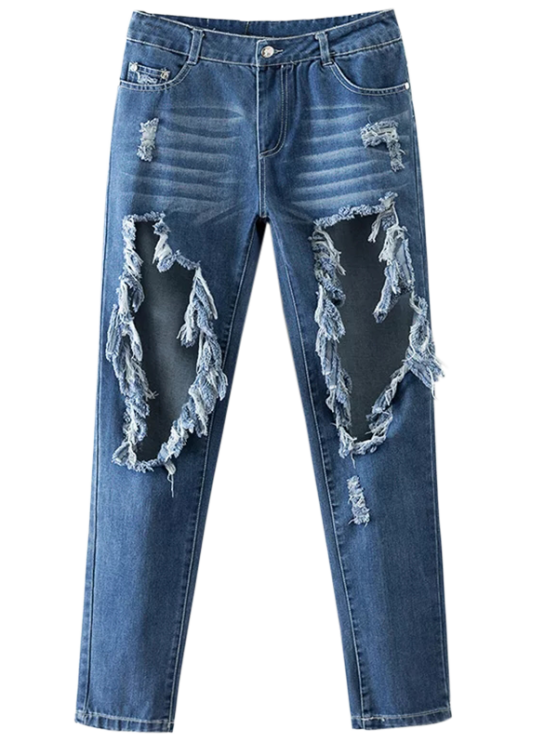 ladies Cut Out Destroyed Tapered Jeans - BLUE M