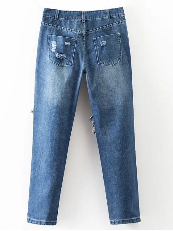 Cut Out Destroyed Tapered Jeans - BLUE S Mobile