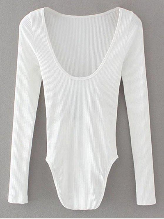 Low Back Ribbed Bodysuit - WHITE L Mobile