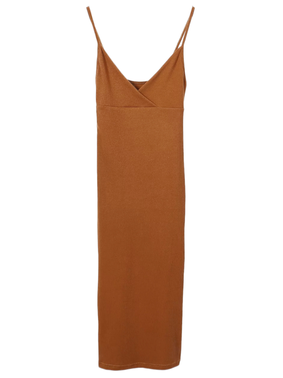women's Slip Surplice Slinky Tank Dress - CAMEL M