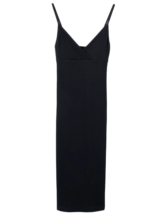 Slip Sobrepelliz Slinky vestido del tanque - Negro S