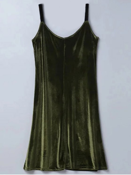 sale Casual Velvet Midi Dress - ARMY GREEN M