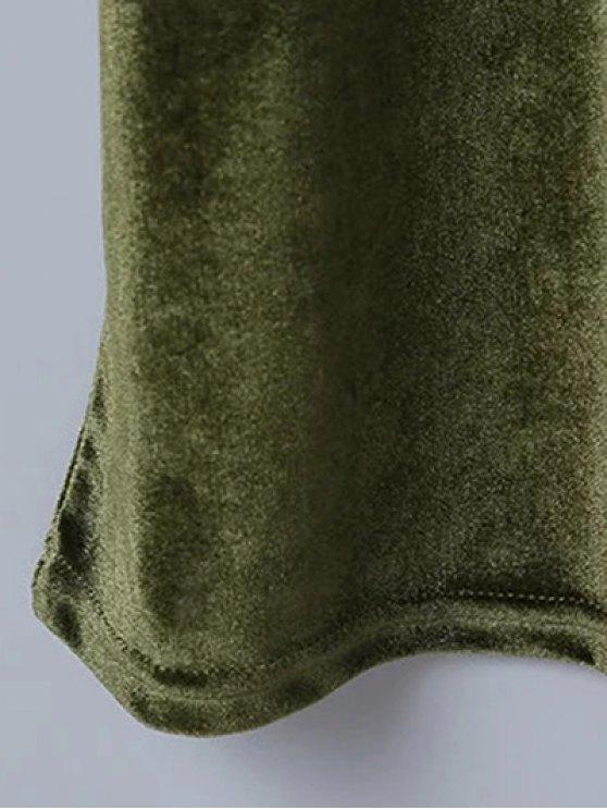 Casual Velvet Midi Dress - ARMY GREEN S Mobile