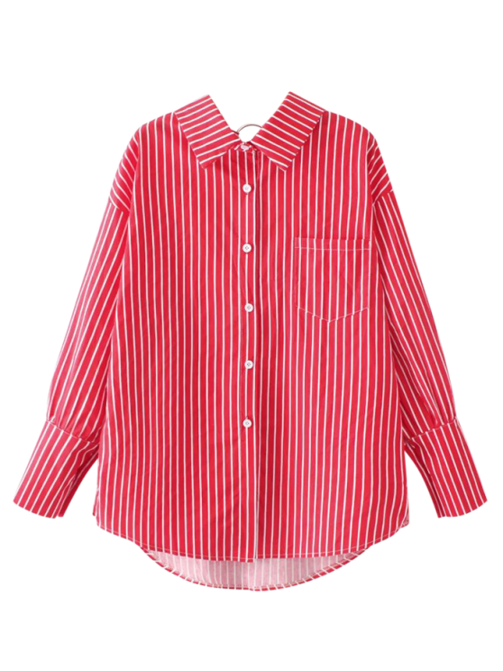 fancy Pocket Flat Collar Striped Shirt - RED ONE SIZE
