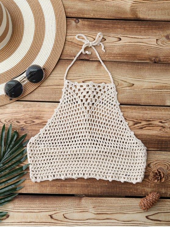 unique Crochet High Neck Swim Top - APRICOT ONE SIZE