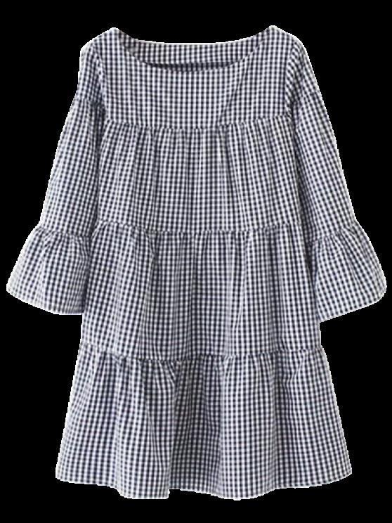 fancy Casual Checked Straight Dress - PURPLISH BLUE L