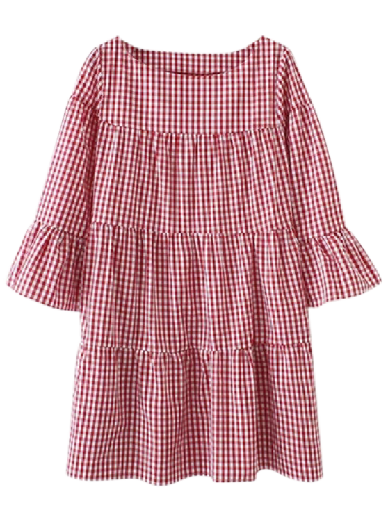 affordable Casual Checked Straight Dress - RED L