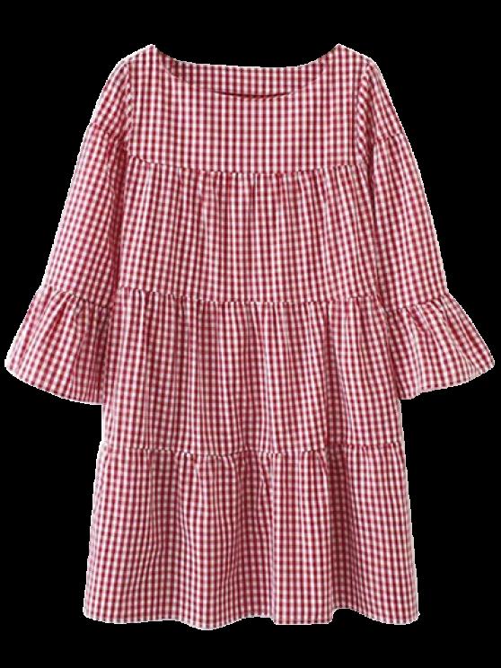 Casual vestido recto Chequeado - Rojo L