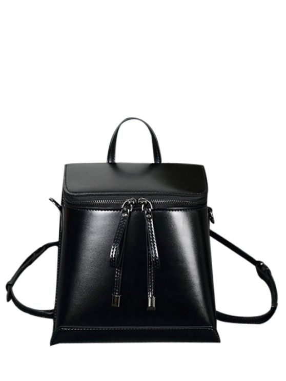 unique Zip Around Faux Leather Backpack - BLACK