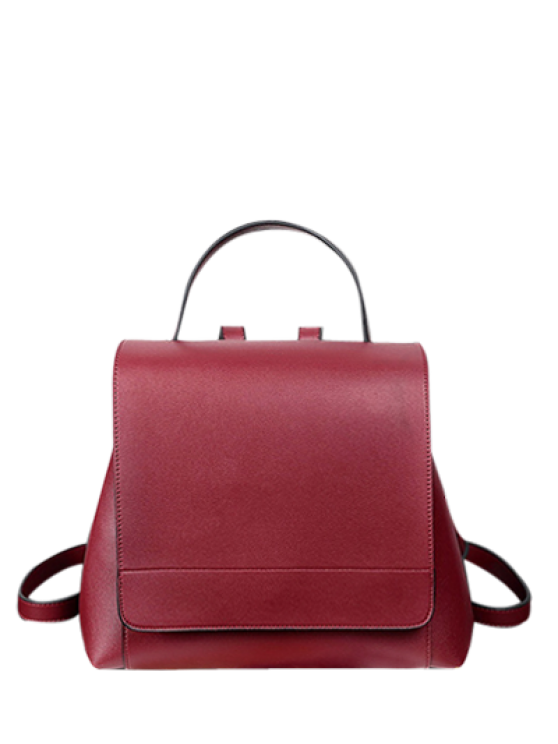 sale Flap PU Leather Backpack - WINE RED