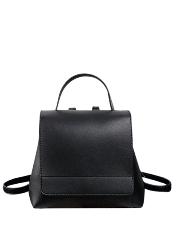 womens Flap PU Leather Backpack - BLACK