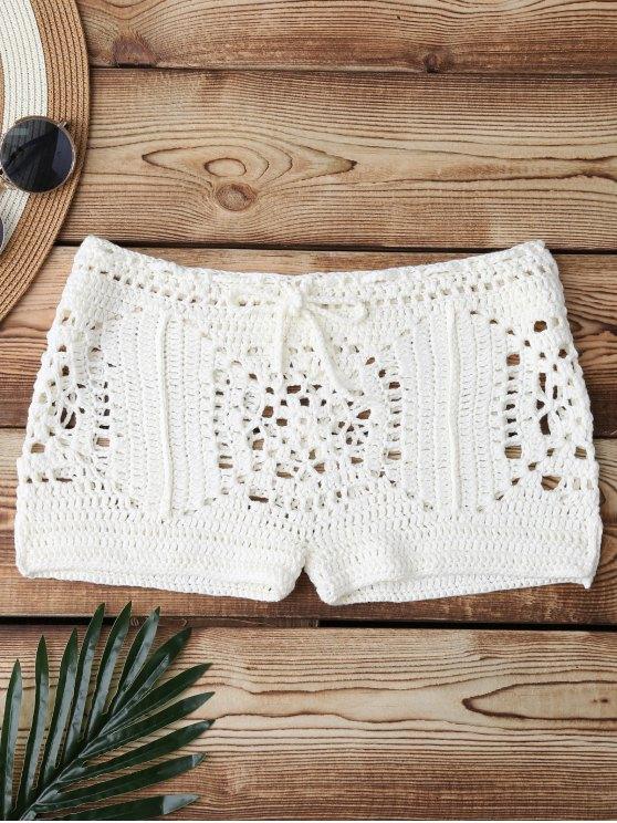 ladies Boxer Crochet Bikini Bottom - WHITE ONE SIZE