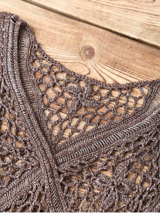 Crochet V Neck Cover Up - TAUPE ONE SIZE Mobile