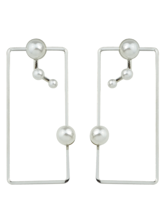 outfits Artificial Pearl Geometric Ear Jackets - SILVER