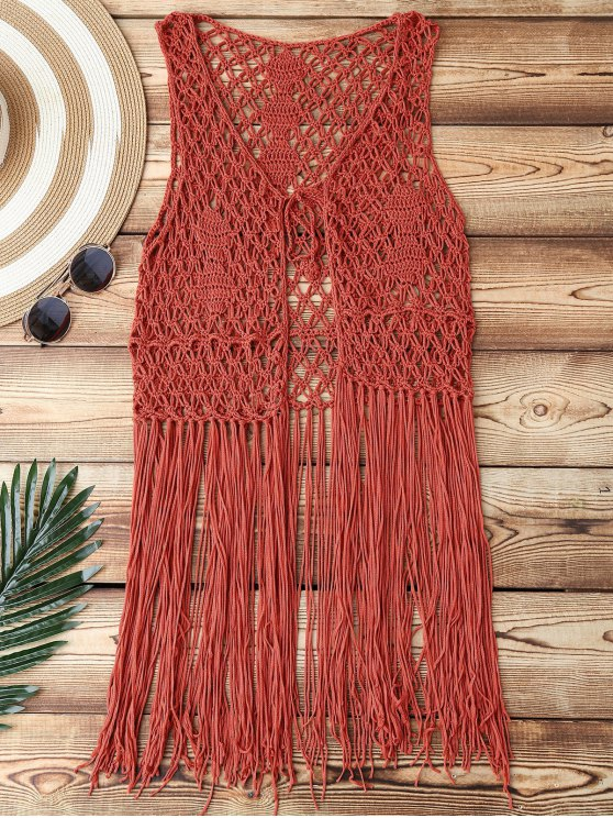 Open Front Fringes Crochet Cover Up - BRICK-RED ONE SIZE Mobile
