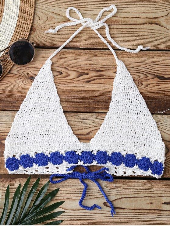 Hasta Swim Top Crochet posterior Ate - Blanco Única Talla
