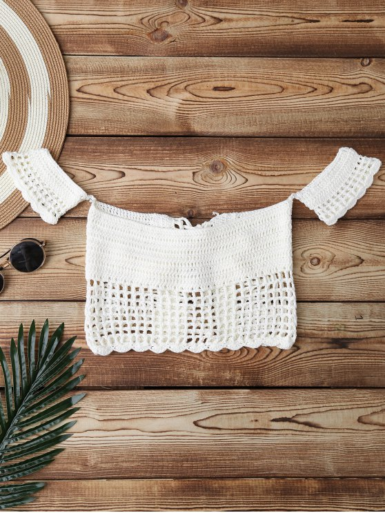 Knitted Off Shoulder Cover Up Top - WHITE ONE SIZE Mobile