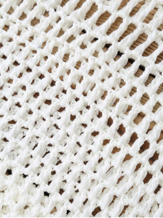 Hollow Out Crochet Cover Up - WHITE ONE SIZE Mobile