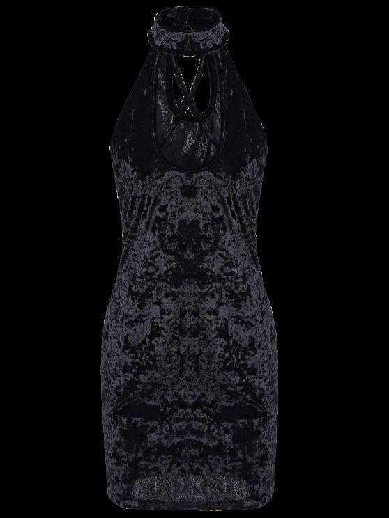 Crosscriss Velvet Bodycon Dress - BLACK XL Mobile