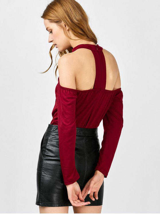 Long Sleeve Lace-Up Cold Shoulder Bodysuit - WINE RED XL Mobile
