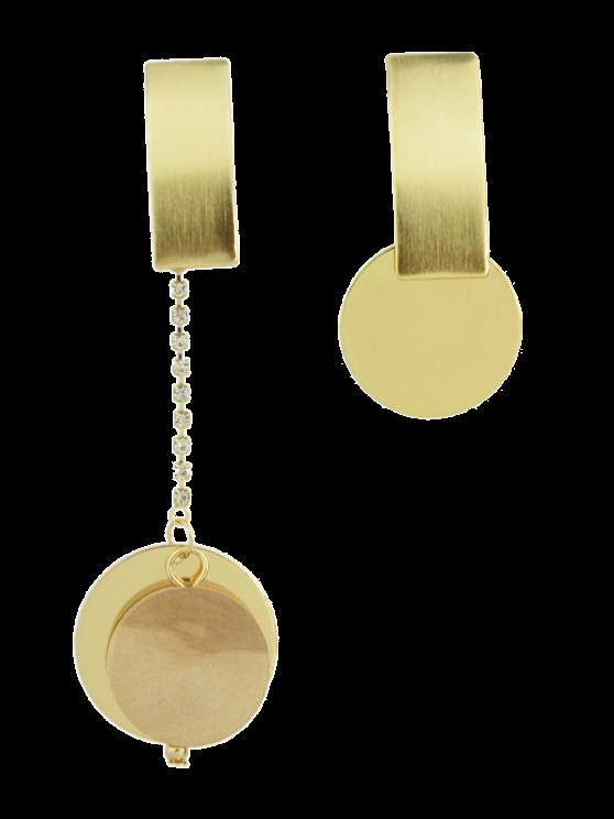 Boucles d'oreilles circulaires strass asymétriques - Or