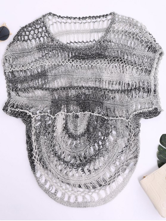buy Dolman Sleeve Crochet Sheer Top - BLACK GREY M