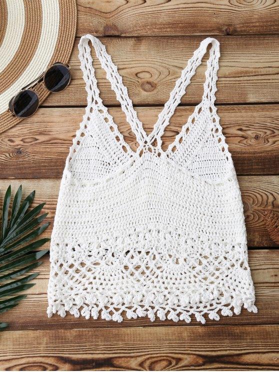 Crochet Crop Cover Up Top - WHITE ONE SIZE Mobile