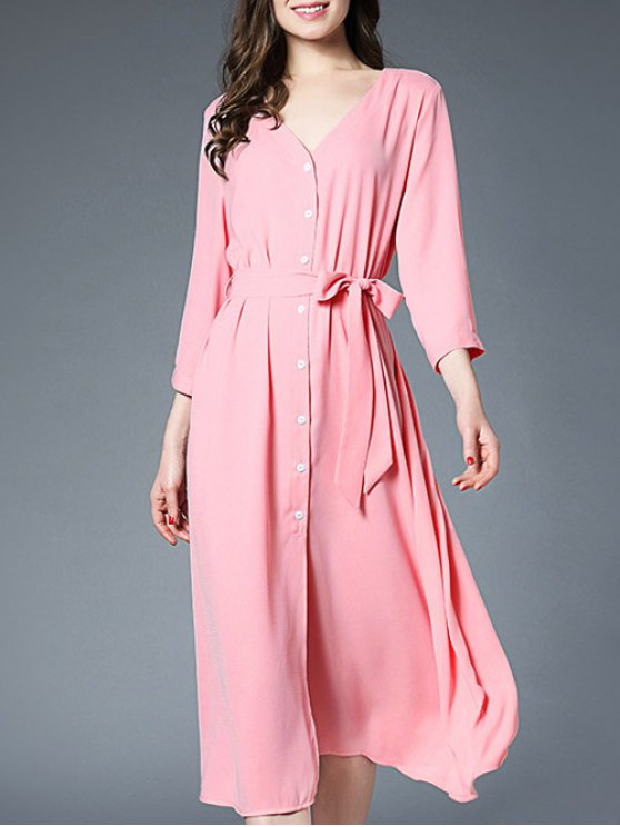 Slit Button Up Shirt Dress With Belt - PINK ONE SIZE Mobile