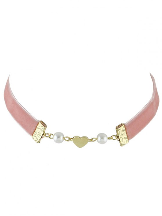 women's Faux Pearl Heart Velvet Choker Necklace - PINK
