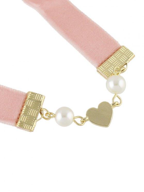 Faux Pearl Heart Velvet Choker Necklace - PINK  Mobile
