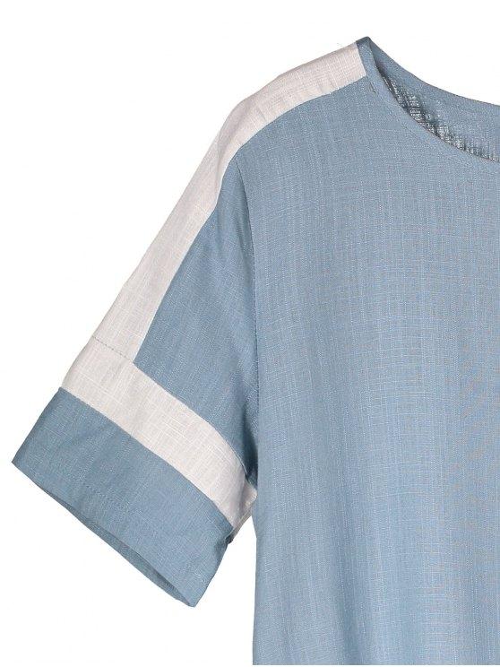 Color Block Linen Casual Dress - LIGHT BLUE M Mobile