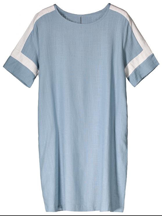 Bloque de color de lino del vestido ocasional - Azul claro M